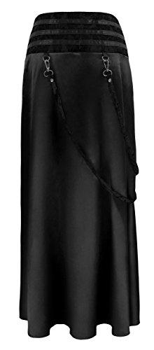 Charmian Women's Steampunk Gothic Victorian Ruffled Satin High Waisted Skirts Nero