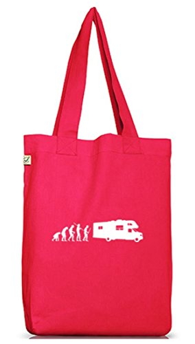 Shirtstreet24, EVOLUTION CAMPER, Camping Jutebeutel Stoff Tasche Earth Positive Hot Pink