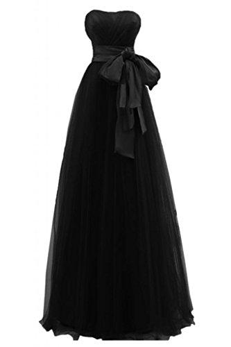 Sunvary elegante, lunghezza nastro di Tulle con cuori per matrimonio, abito da sera Nero