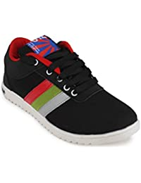 11E Men's Black Red Canvas Sneakers