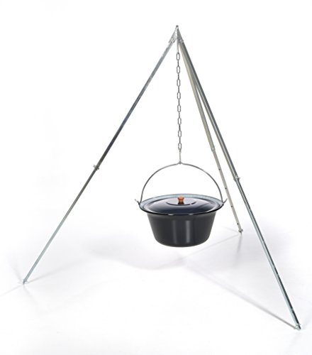 Original ungarischer Gulaschkessel (22 Liter) + Dreibein-Gestell (170cm) ✓ Emailliert ✓ Kratzfest | Verzinktes Teleskop-Dreifuß mit Gulasch-Topf, Suppentopf | Kochkessel für Kesselgulasch im Set
