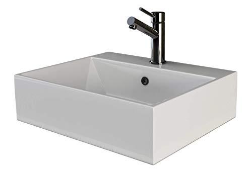 VILSTEIN Keramik Waschbecken Hängewaschbecken Aufsatzwaschbecken Waschtisch rechteckig eckig weiss ca. 50 cm -