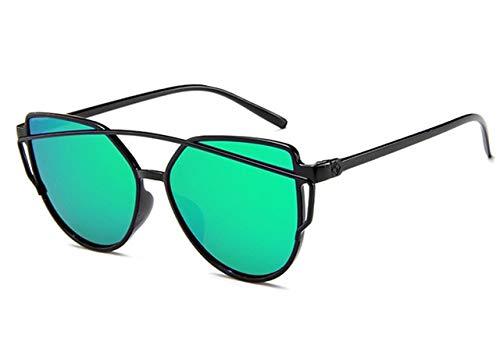 DXXHMJY Sonnenbrillen Sonnenbrille Frauen Twin-Beam Beschichtung Spiegel Sonnenbrille Weiblich Retro Kunststoff Sonnenbrille Personalisierte High-End-Sonnenbrille Grün