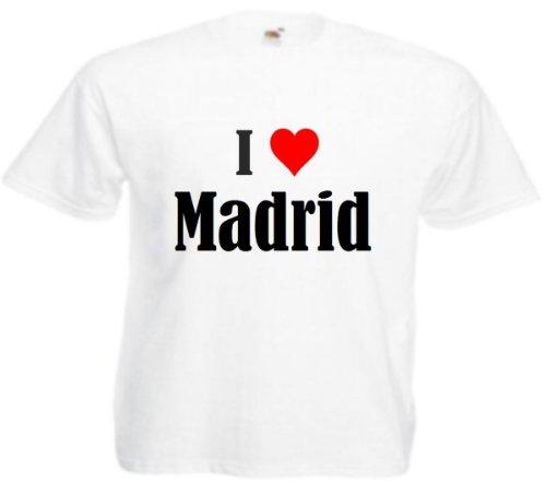 """T-Shirt """"I Love Madrid"""" für Damen Herren und Kinder in Weiß Weiß"""