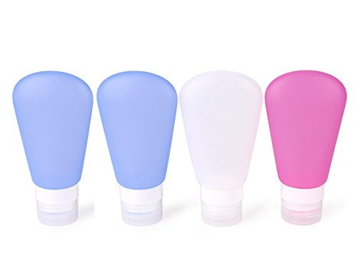 Phantomsky set di bottiglie di viaggio in silicone, contenitori ermetici squeezable ricaricabili - set di 4 (3oz / 89ml)