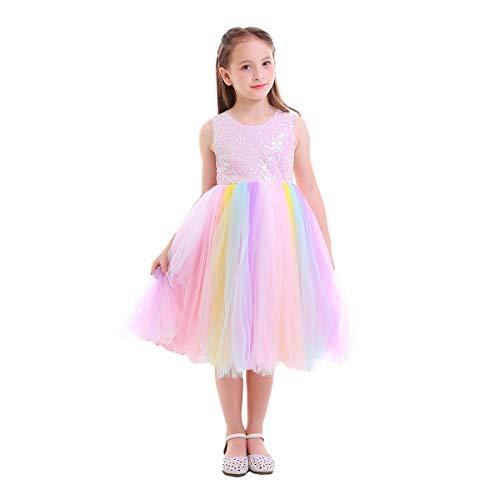 IWEMEK Baby Mädchen Einhorn Regenbogen Geburtstag Kleid Halloween Kostüm für Kinder Prinzessin Blumenmädchenkleid Hochzeit Festzug Weihnachten Karneval Ankleiden Cosplay 5-6 Jahre