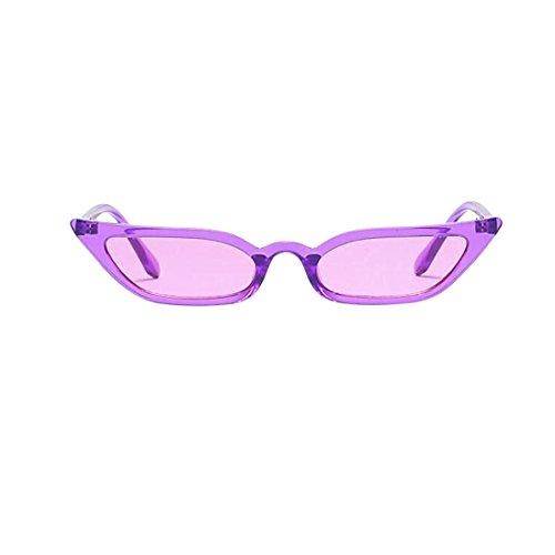 Lenfesh Frauen Vintage Katzenaugen-Sonnenbrille Retro kleine Rahmen UV400 Brillen Mode Damen (Lila)