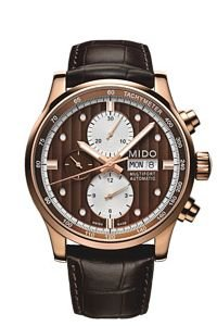 Mido Men's Multifort 44mm Brown Leather Band Rose Gold Plated Case Automatic Watch M005.614.36.291.19