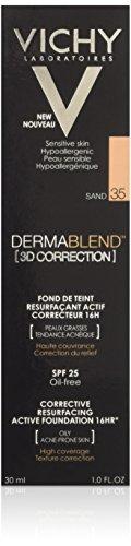 Vichy Dermablend 3D Correction Fondo di trucco attivo, in Correttore, 16H nº35, color: sabbia, 30ml