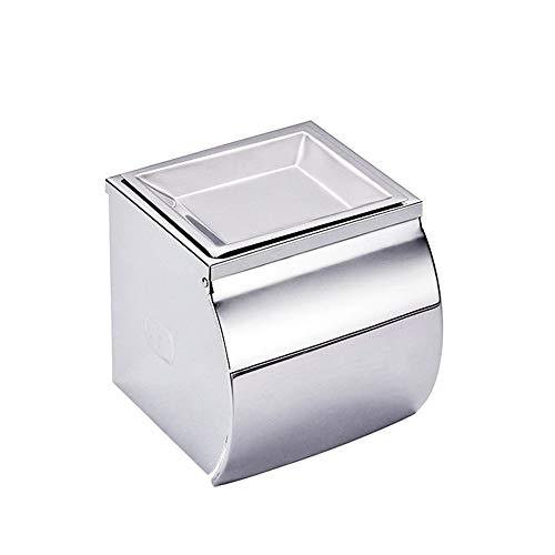 Toilettenpapierhalter Edelstahl-Licht-Papierhandtuchhalter High-End-Badezimmer Mobilpapierrollenhalter Hotel Square Round Toilettenpapierhalter für Bad und Küche ( Color : Silver , Size : Free size )