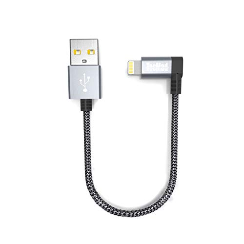 Tecmad Ladekabel Compatible with 90 Grad Winkel Stecker Nylon Lightning Datenkabel [ MFi zertifiziert]  Kabel für iphone XS Max XR X 8 7 6s 6 Plus 5S, ipad Air 2 Pro [Grau 0.2m]-TMLC0001 (Ipod Nano Gen 3 Fall)
