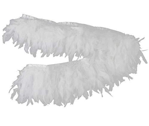 PANAX Echte Truthahnfedern in Weiß auf 200cm Stoffstreifen und ca. 10-15cm Federnlänge - 9 Farbvarianten - Ideal zum Basteln, Fasching, Karneval, Hochzeiten, ()
