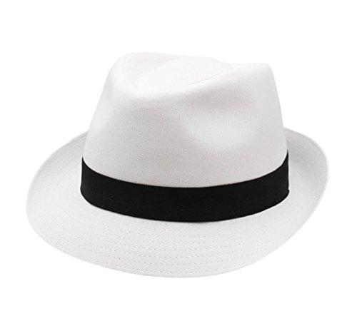 Classic Italy - Chapeau Trilby - 10 Coloris - Homme ou Femme Classic Trilby - Taille 58 cm - Blanc-Noir