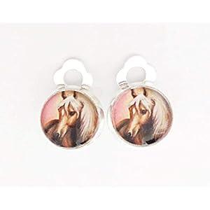 Kinder Mädchen Ohrclips/Ohrstecker Pferde-Kopf 10mm Motiv Pferd/Glas-Cabochon Ohrringe handgefertigt by…