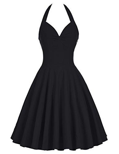 Damen Vintage Kleid Treffen Kleid Neckholder Festliche Kleid L BP185-1