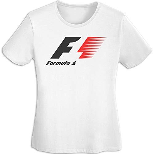 Star Trek-jugend-t-shirt (Frauen Sommer T-Shirt Formel 1 F1 Logo T-Shirt T Shirt für Frauen Jugend Mädchen T-Shirt Kurzarm Rundhals Weiß L)