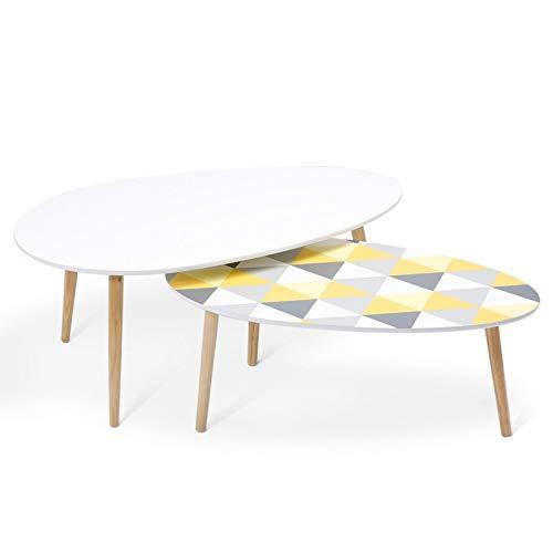 IDMarket - Lot de 2 Tables Basses gigognes laquées à Motifs Blanc Jaune et Gris