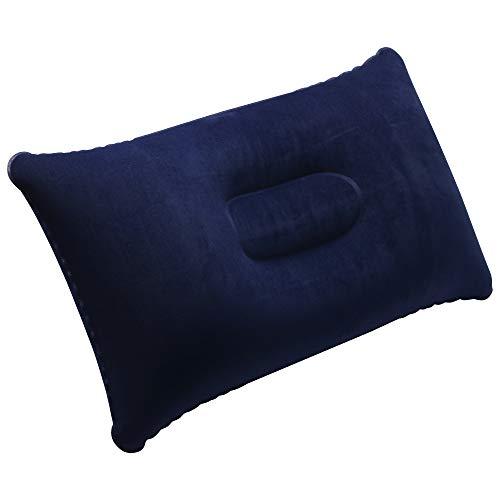 TRIXES 2 x aufblasbare Kissen - für Reisen, Strand oder Camping - Soft Touch - kleine tragbare Größe - dunkelblau