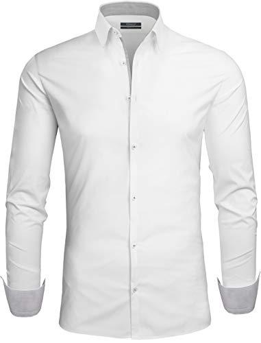 Grin&Bear Design Herren Hemd, weiss1, Regular, XL, SH335