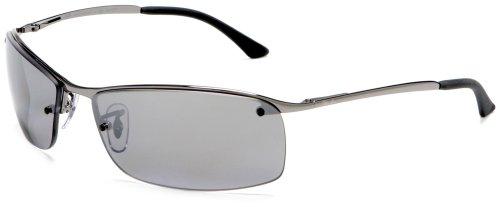 Ray-Ban Unisex Sonnenbrille Rb 3183 Grau (Gestell: Gunmetal, Gläser: Polarized Silber verspiegelt 004/82)), X-Large (Herstellergröße: 63)