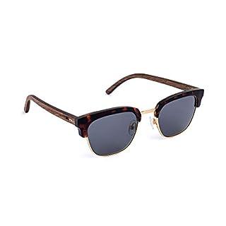 TAKE A SHOT Alden - Holz-Sonnenbrille, Holz-Bügel, flexiblem Kunststoff-Halbrahmen, 100% UV-Schutz, rückentspiegelte Gläser