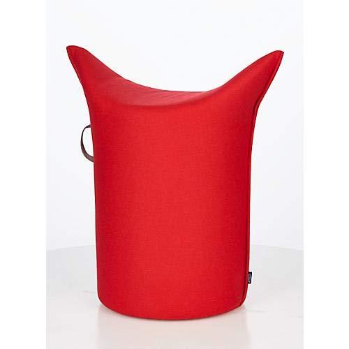 WERTHER Zipfelhocker Polsterhocker Sitzhocker Indoor Rot inkl. Leder-Griffschlaufe 3 Jahre Garantie Sitzhöhe 500 mm B 620 x T 360 x H 600 mm