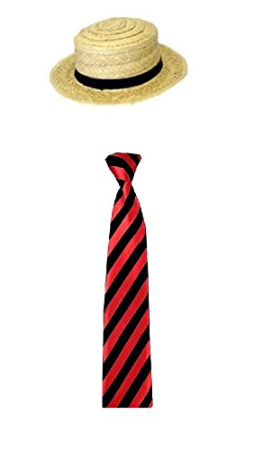School Girl Fancy Dress Straw Boater Hat and Tie 2 Peice Set School Disco Red (RBfashionsClothing)