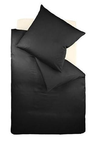 fleuresse Bettwäsche 9100-941, 135/200 cm colours Uni Mako Satin, Farbe Schwarz, 100% Baumwolle (Black Satin Bettwäsche)
