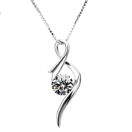 XINGYU Halsketten 925 Sterling Silber AnhäNger Zirkonia Twist Heart Jewellery Muttertag Paar Frauen, 18