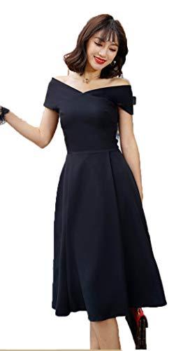 JRhong Elegant Carmen-Ausschnitt Festkleid Empire Midikleid Volltonfarbe Partykleid Chic Damen Kleid