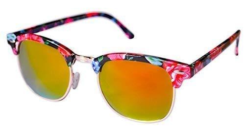 Ohne Marke / Generic - Sonnenbrille Sunglasses Frauen Männer Clubmaster Gestell Schwarz Rosa Grün Blumenmuster Lenti A Spiegel Gelb