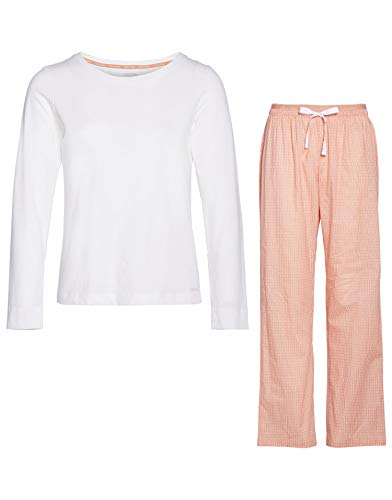 Calvin Klein Damen L/S Pant Set Zweiteiliger Schlafanzug, Orange (Triple DOT Print WTQ), Small (Herstellergröße:S) (2erPack) -