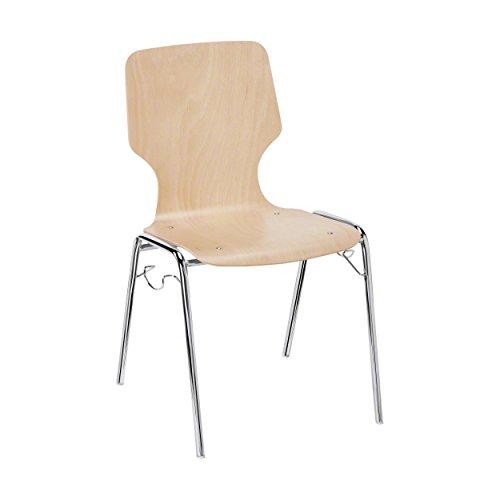 Stapelstuhl Buche, Besucherstuhl aus Holz, Konferenzstuhl, Bürostuhl