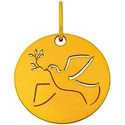 Premier Carat - Medaille de Bapteme Colombe de la Paix en Or Jaune - Medaille en Or Jaune 18 Carats diametre 16 mm - Gravure possible au verso - Cadeau de Bapteme idéal pour un bébé