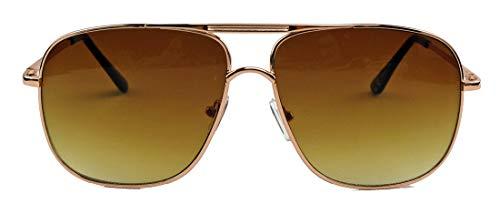 amashades Vintage Classics super Old School Brille 80er Jahre Brillengestell Square Metal Pilotenbrille Sonnenbrille oder Nerdbrille Klarglas F20 (Gold/Braun)