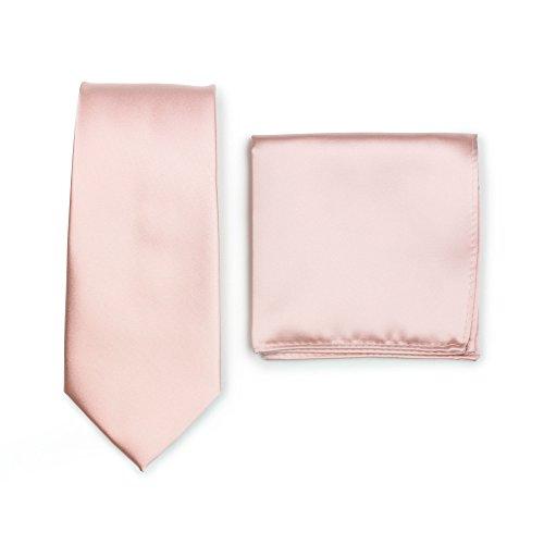 Puccini Krawatte + Einstecktuch Set Herren, Einfarbig, 20 Farben, Satin-Glanz, Handarbeit, Hochzeit - Alltag - Büro (Hellrosa)