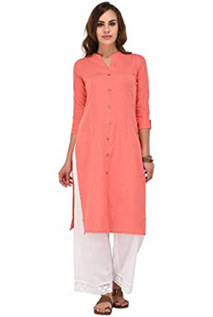 Pistaa's Women's Cotton Straight Kurti, XS (Peach)