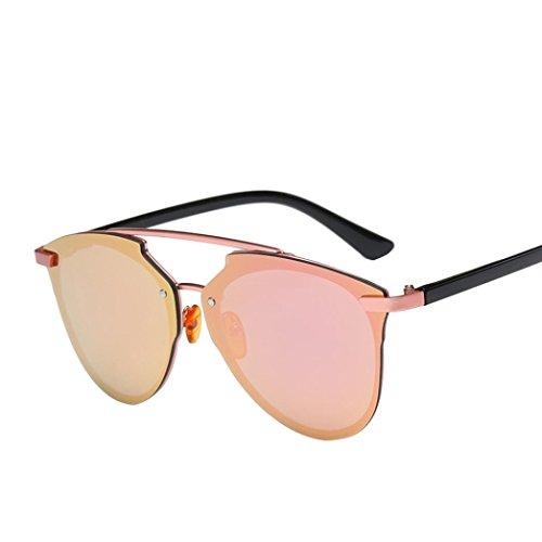OverDose Unisex Vintage Classic Metallrahmen Sonnenbrille Katzenaugen Brille Reflektierenden Spiegel (C-H)