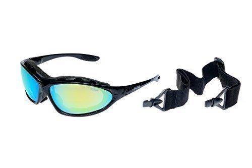 Ravs occhiali sportivi per sci, kitesurf, ciclismo, sole con fascia, aste e custodia morbida a specchio super flash