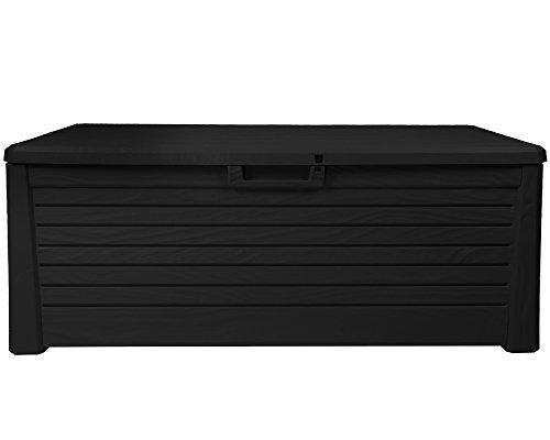 Ondis24 stabile wertige Kissenbox Florida Holz Optik Sitztruhe Auflagenbox anthrazit 550 Liter XXL...