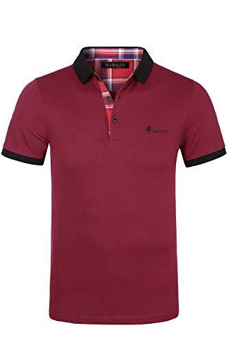 MAROJO Herren Poloshirts Kurzarm Slim Fit Sommer T-Shirt Men's Piqué Polo Shirts (Dunkelrot, XL)