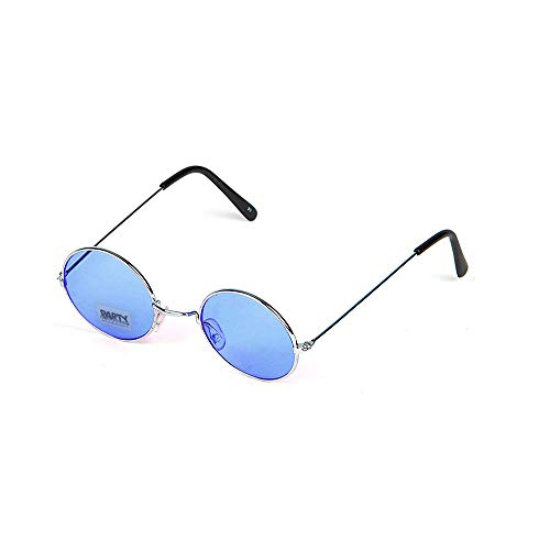PARTY DISCOUNT Brille Hippie, runde, Blaue Gläser aus Metall