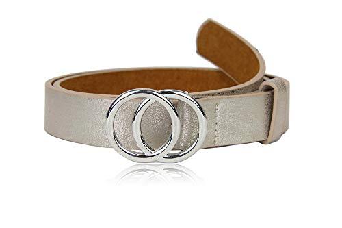 irisaa Schmaler Damen Gürtel mit runder Metallschnalle zwei Ringen, 2,8 cm breit und 0,4 cm stark, Länge:80, Farbe:Champagne mit Silberring