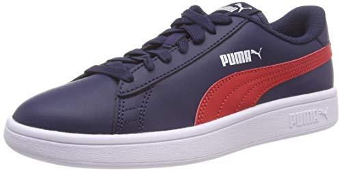 d2615edeac6 Puma Smash V2 L Jr, Sneakers Basses Mixte Enfant, Bleu (Peacoat-Ribbon Red  White 06), 37 EU