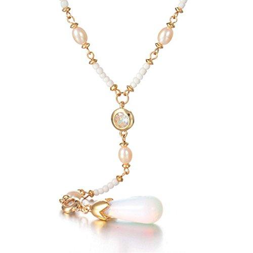 Man9Han1Qxi Böhmische Faux Perle Strass Anhänger Perlen Pullover Kette Frauen Lange Halskette -