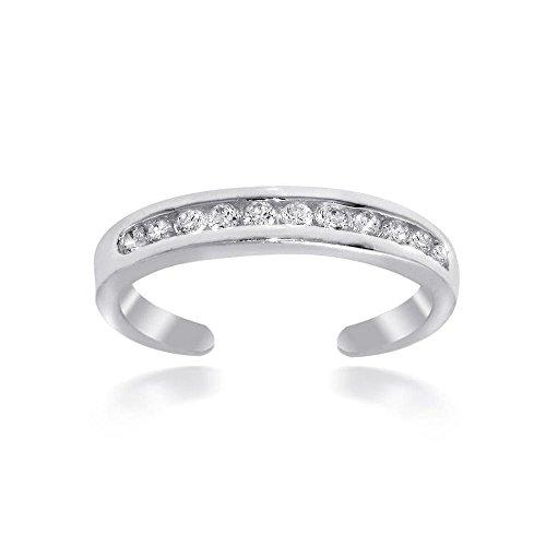 Luxuriöser Zehenring mit Zirkonia Diamanten, Sterling Silber