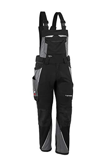 Grizzlyskin Latzhose Iron - Workwear Arbeitshose für Männer & Damen, Unisex Blaumann, Codura-Schutzhose mit vielen Taschen & Schnittschutz, Schwarz/Grau, Größe: S62