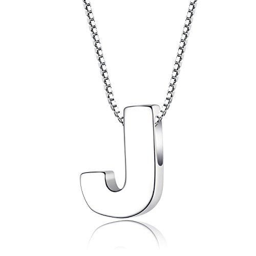 f8ebbe2122cc Candyfancy plata de ley 925 alfabeto de letras iniciales collar colgante A-Z  para niñas (Letra