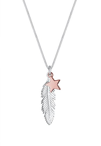 Elli Women Genuine Jewellery Necklaces Pendant Neckwear Feather 925 Sterling Silver Gold Plated Length 45 cm jGMjMq