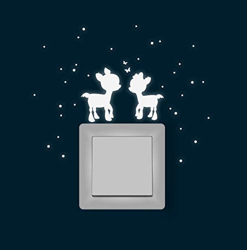 Wandtattoo Wandaufkleber Lichtschaltertattoo Leuchtsticker Aufkleber REH Rehe mit Schmetterlingen fluoreszierend M1621
